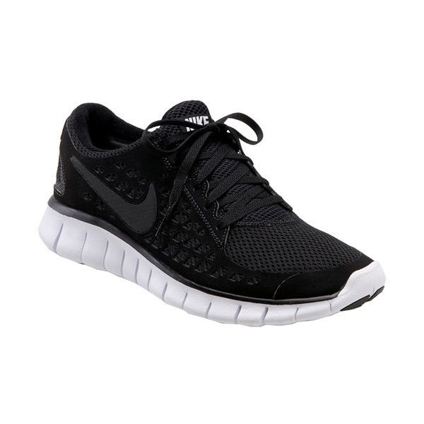Nike 'Free Run+' Minimal Running Shoe (Women) Black/Anthracite/White... ($42) ❤ liked on Polyvore featuring shoes, athletic shoes, sneakers, sporty, athletic, women, black shoes, lightweight running shoes, black athletic shoes and light weight running shoes