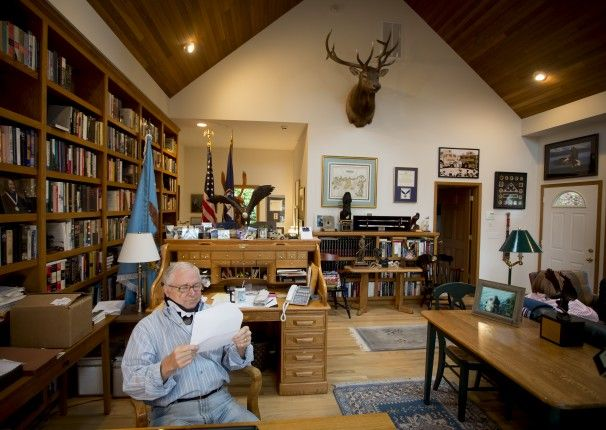 "Former defense secretary Robert Gates in the study of his home in Skagit County, Washington, where he wrote ""Duty,"" his memoir of his time o..."