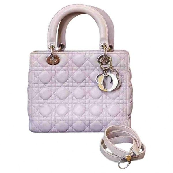 Pre-owned Dior Lady Dior Leather Tote ($2,290) ❤ liked on Polyvore featuring bags, handbags, tote bags, purple, purple leather tote, purple tote bags, tote purses, purple handbags and purple leather purse