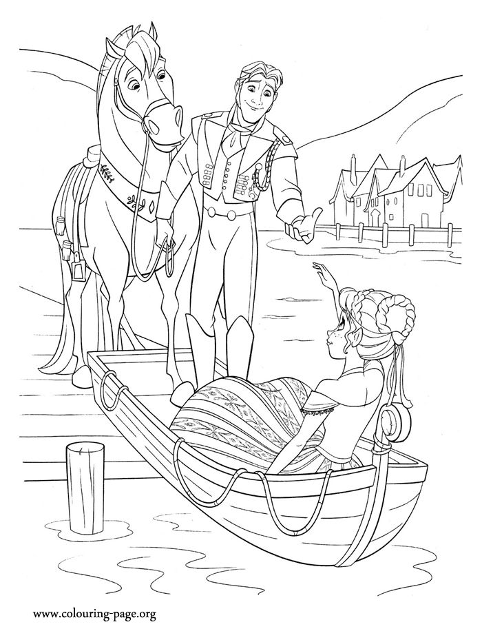 In this nice picture, Prince Hans helps Princess Anna when she stumbles. Have fun with this free printable Disney Frozen coloring page!