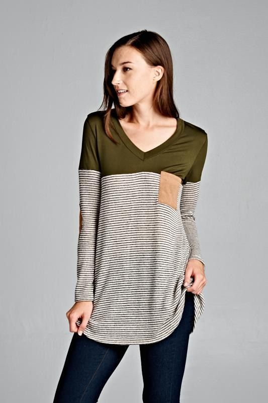http://www.siamtrick.com Olive Striped Color Block Top – ROUTE 32 Striped knit and olive modal color block V-neck top. Faux suede pocket and elbow patches. Made in USA 96% Polyester 4% Spandex