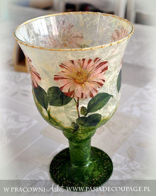 szklany wazon- lampion papier ryż