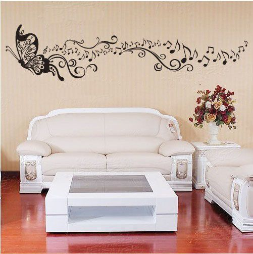 240x56cm Butterfly Music   Nature Vinyl Wall Paper Decal Art Sticker Q166. $20.88, via Etsy.