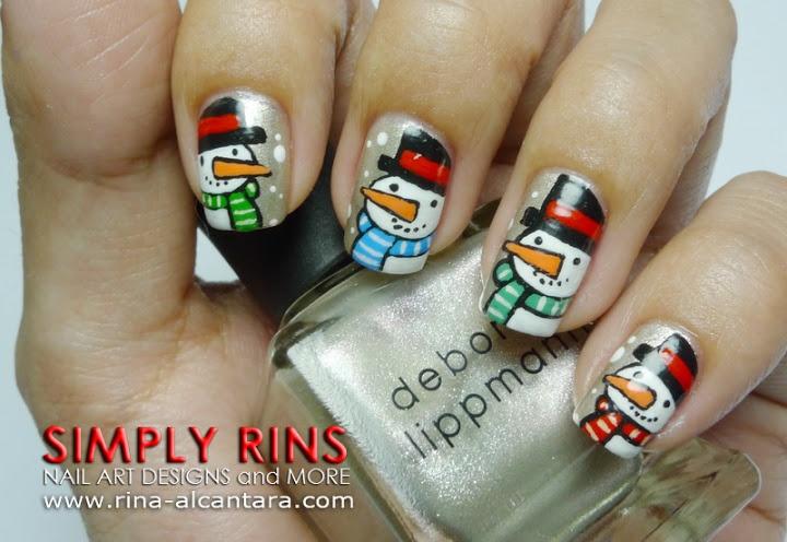 Christmas Snowman Nail Art Design  http://www.rina-alcantara.com/2011/12/nail-art-tutorial-snowman-parade.html