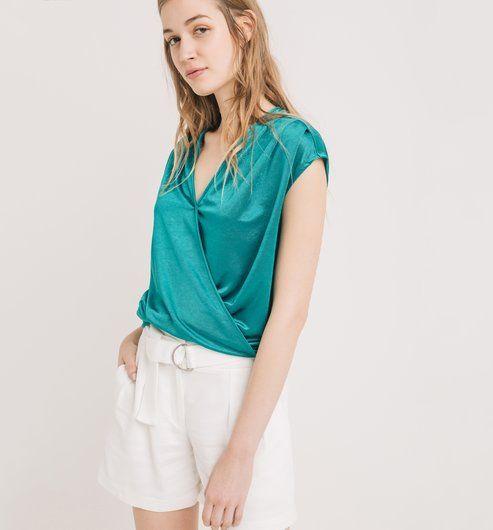 Szaténos női felső smaragdzöld - Promod
