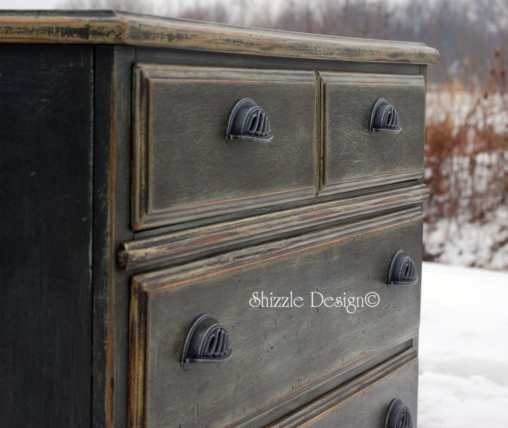 Check out the rich patina on this hand painted Basset chest of drawers refinished by Shizzle Design of West Michigan.  Several colors were layered to create this dynamic piece.  This dresser has sold but you can see Shizzle Design's other painted furniture at www.alittlebitoshizzle.blogspot.com