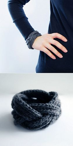 Knit a long starter chain then follow wrapping guidlines