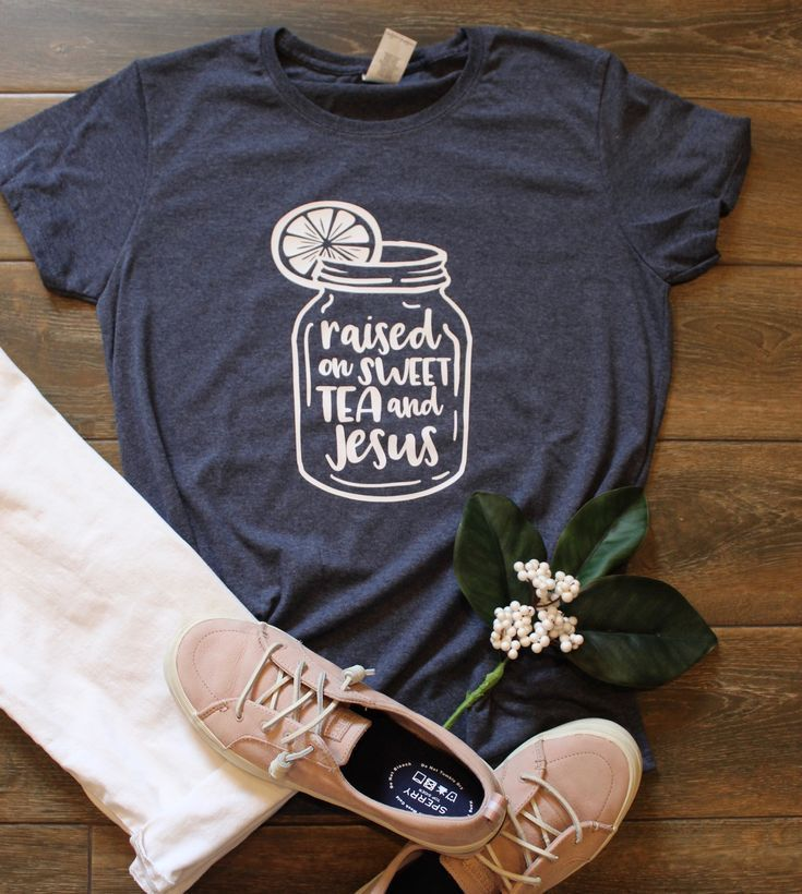 0f87005a Celebrate your southern roots with this Sweet Tea and Jesus women's cut t- shirt. Available in heather navy and in sizes M-2XL.