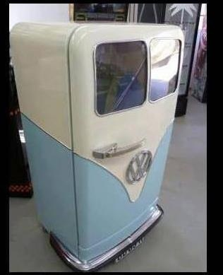 Vintage fridge made to resemble a split window VW bus.