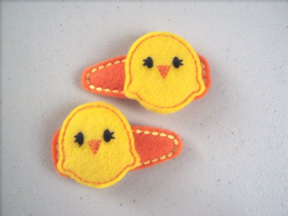 Felt snap clip barrette cute set of Easter chicks by PJSEMBROIDERY, $5.00