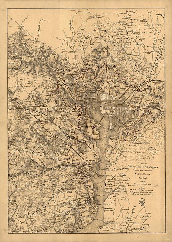 OLD MAP of washington d.c VINTAGE POSTER rare collectors HISTORIC 24X36 hot
