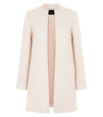 Shell Pink Textured Collarless Jacket  | New Look
