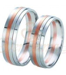 Βέρες γάμου τρίχρωμες με διαμάντι Breuning 6339-6340