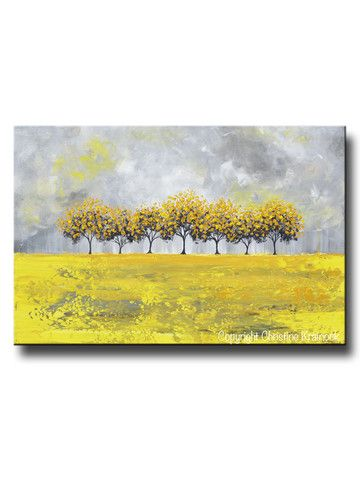 """Golden Rain"" Large Prints, Canvas Print of Sold Original Abstract #Art Yellow Grey Abstract Painting Horizon Trees Modern Palette Knife Tree Landscape white grey gold wall art home decor fall gift. Beautiful, vibrant, crisp, soothing greys, white, beige, yellow, gold coastal color palette. Print is of SOLD original, textured, palette knife painting which was hand-painted, mixed media acrylic on canvas, gallery fine art created by internationally collected artist, Christine Krainock."