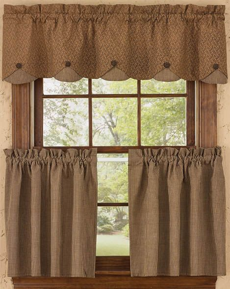 Shades of Brown Lined Scallop Curtain Valance
