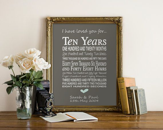 Unusual 10th Wedding Anniversary Gifts : ideas about 10th Anniversary Gifts on Pinterest 1 year anniversary ...