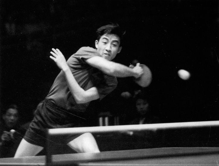 Chinese table tennis player Zhuang Zedong playing at the World Table Tennis Championships in 1961 http://ift.tt/2iQG0mr
