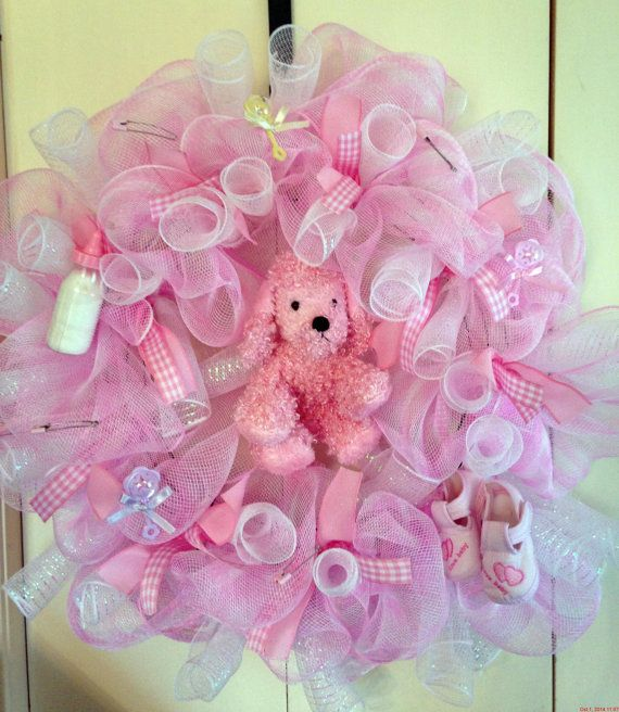 Deco Mesh Wreath Baby Girl Baby Shower Pink by JennaM4 on Etsy