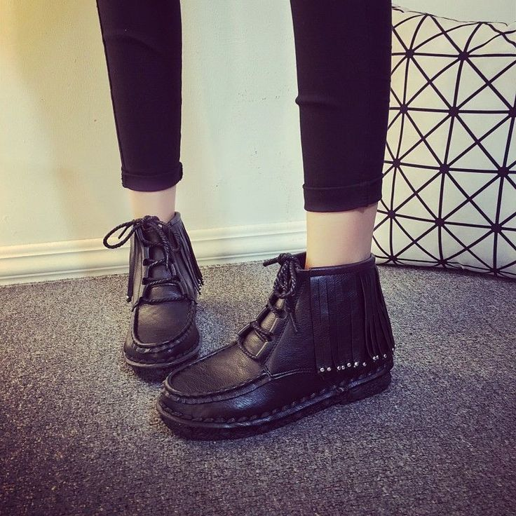 Women Comfortable Sneakers Tassel Decoration Casual Lace Up Short Boots