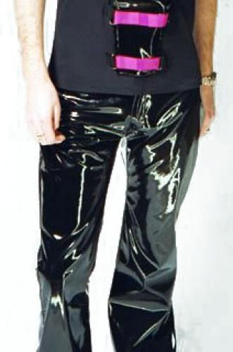 The garment is made from our signature shiny vinyl with