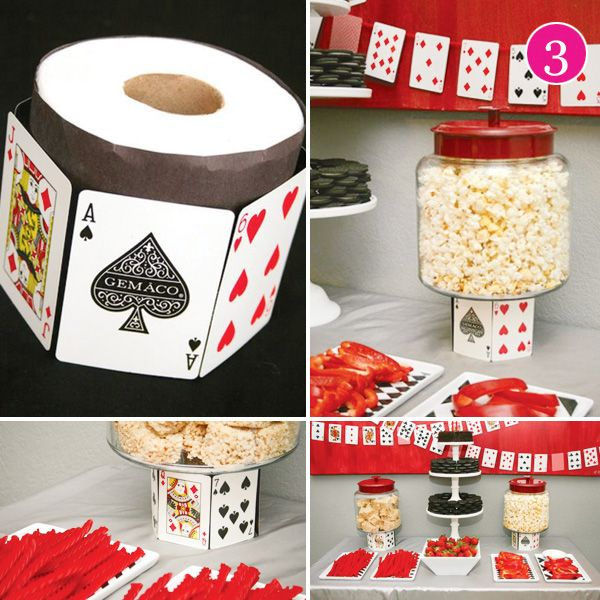 GAME NIGHT...  Poker Night Decor - hanging the cards what a good idea
