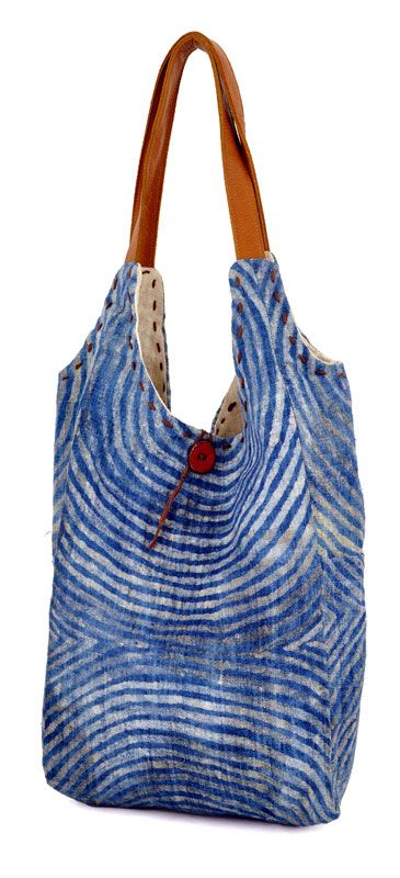 reversible Batik Hemp Tote Bag