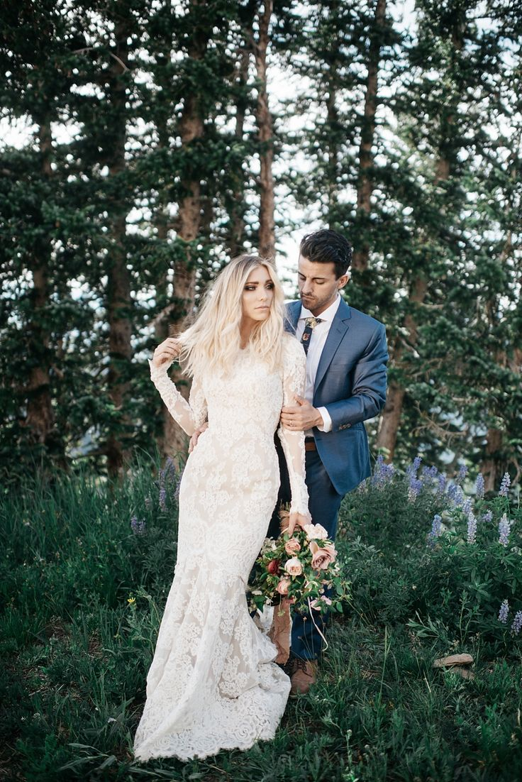 modest wedding dress with long lace sleeves and a sculpted, sexy fit from alta m…