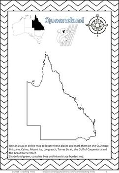 AUSTRALIAN GEOGRAPHY FREEBIE - Get your kids thinking about the land down under! This is a free Australian Geography Activity. *2 Australian Geography critical and creative thinking Task Cards *Map of Australia - State and Territory colours activity * State of Queensland mapping activity: includes locating places, Queensland's animal emblem, the koala, and border to colour.*Word Wall Cards - states and territories of Australia