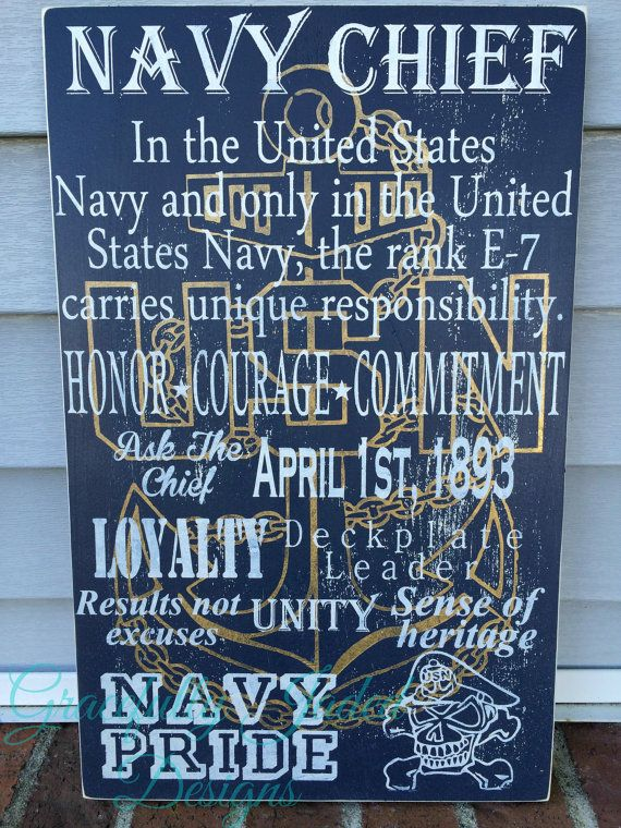 Navy Chief Sign Custom Retirement Gift USN Gift by gracefullyjaded
