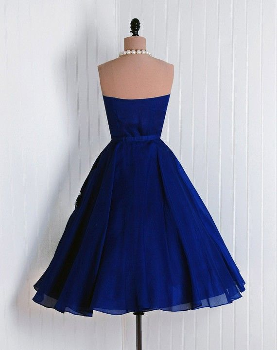 1950's Vintage Royal-Blue Embroidered by TimelessVixenVintage
