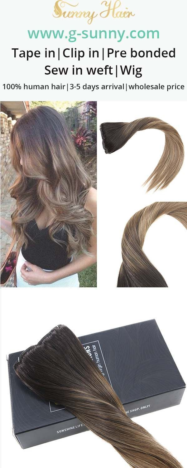 Sunny Hair 100% real human hair extensions, black to brown and blond color hair balayage clip in human hair extensions. www.g-sunny.com
