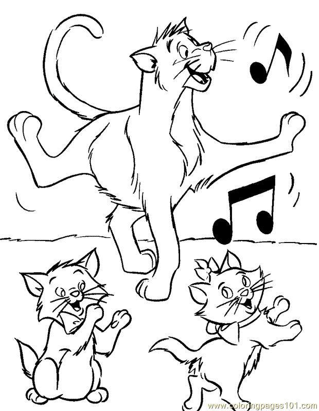 Aristocats Coloring Pages Free Printable Disney Sheets For Kids