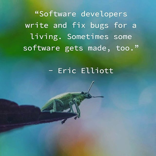 """Software developers write and fix bugs for a living. Sometimes some software gets made, too."" Eric Elliott ( #javascript expert). #bug #error #code #debug #fix #notajoke #programmer #developer #software"