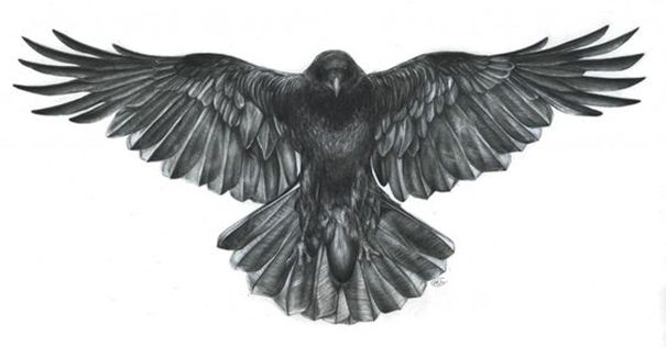 Open Wings Flying Crow Tattoo Design Idea