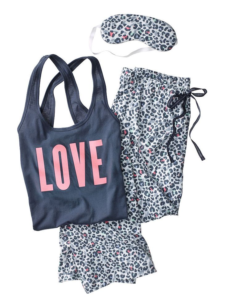 The Pillowtalk Tank Pajama - Victoria's Secret. Grey/Multi Cheetah w/ included free slippers; Small