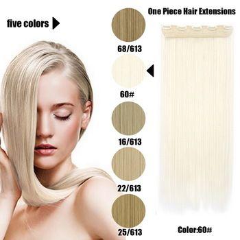 61 Centímetros 120 Gramas 1 peça Mega Hair Tic Tac Cabelo Sintético Liso Loiros Médios Mechados /Claríssimos //Price: $68.97 & FREE Shipping