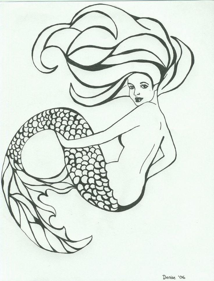 Mermaid Warrior by TokiSeraph on DeviantArt |Mermaid Line Drawing