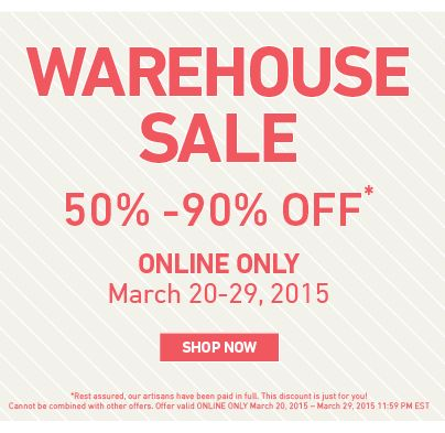 Our Huge Online Warehouse Sale starts today! Shop discounts of 50-90% Off!