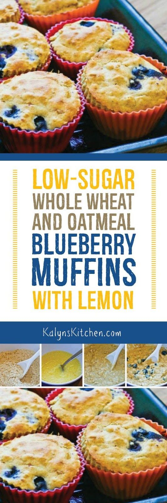 These delicious Low-Sugar Whole Wheat and Oatmeal Blueberry Muffins with Lemon are sweetened with Stevia for a whole grain muffin that's a healthy treat! [found on KalynsKitchen.com]