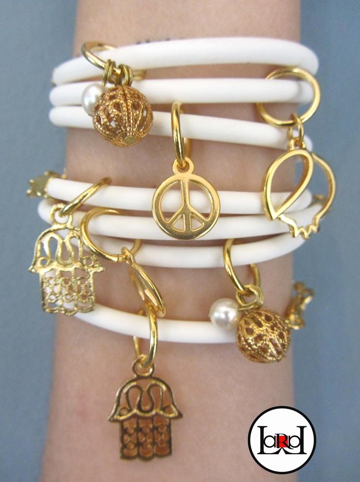 LARA ART White/gold summer bracelets