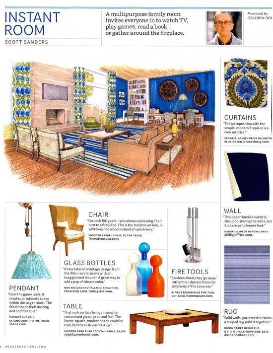 """In House Beautiful's """"Instant Room,"""" designer Scott Sanders featured Kabuki Suede 4321 Royal Navy Suede as a crisp way to upholster the walls."""