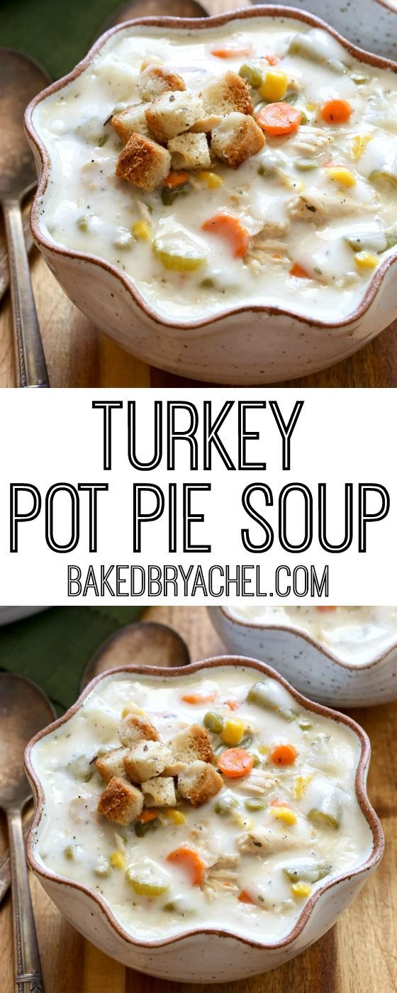 Slow cooker leftover Thanksgiving turkey pie soup recipe from @bakedbyrachel