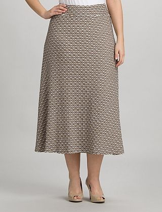 Plus Size Wavy Knit A-Line Skirt