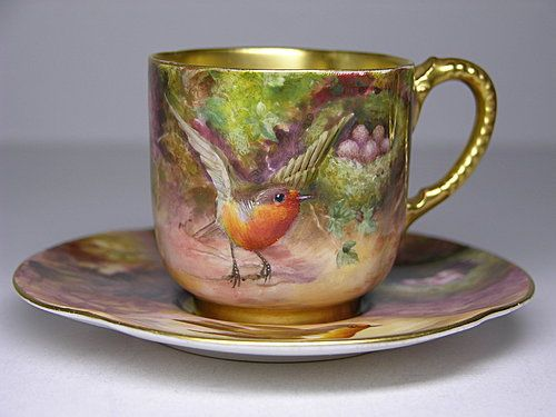 Royal Worcester Cup and Saucer hand painted by Louis Flexman and signed L. Flexman