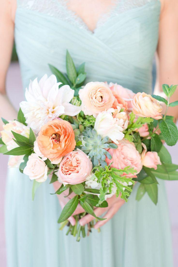 Bridesmaid Dress Mint Green Peach And Wedding Blush