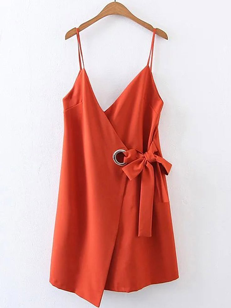 Shop Bow Tie Waist Cami Dress With Ring Detail online. SheIn offers Bow Tie Waist Cami Dress With Ring Detail & more to fit your fashionable needs.