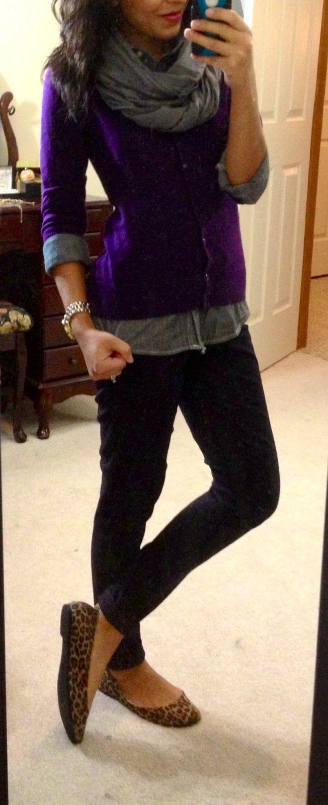 Cute! Purple, layers, leopard flats