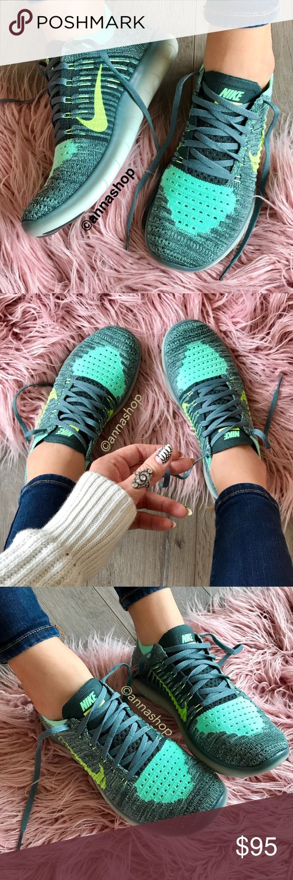 NWT Nike free rn Flyknit mint Brand new with box, no lid. Price is firm!!The next generation of the coveted Nike Free is here. Now with a newly designed Auxetic tri-star outsole pattern and sock-like Flyknit upper, the Women's Nike Free RN Flyknit Running