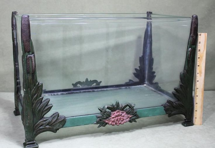 Antique Martinsville Painted Cast Iron Rolled Glass Terrarium Aquarium Fish Tank | eBay