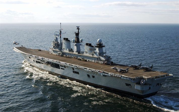 Download wallpapers HMS Illustrious, R06, Royal Navy, aircraft carrier, Invincible-class, 4k, United Kingdom Navy, sea, deck, warship